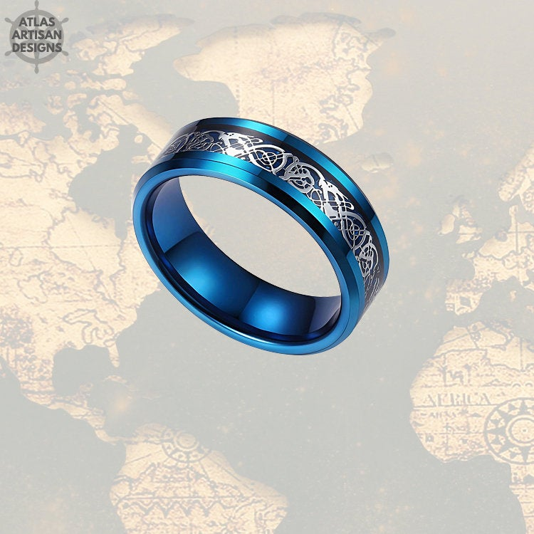 Viking Wedding Ring Mens Tungsten Ring, 8mm Blue Dragon Ring Mens Wedding Band Celtic Ring, Promise Ring, Tungsten Wedding Band Mens Ring - Atlas Artisan Designs