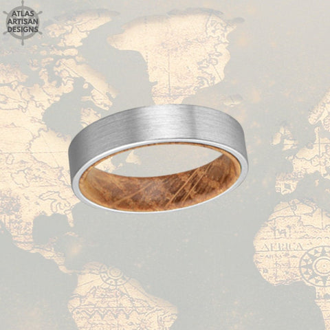 Image of 6mm Whiskey Barrel Ring Silver Tungsten Wedding Band Mens Ring, Comfort Fit Unique Mens Wedding Band Wood Ring, Whiskey Wooden Ring for Men -