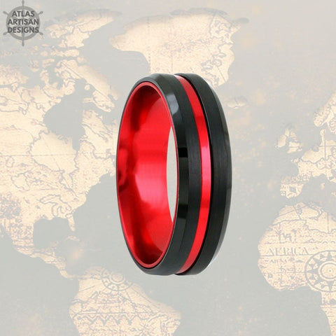 Image of 6mm Tungsten Wedding Band Mens Ring, Black & Red Tungsten Ring Mens Wedding Band, Thin Red Line Gifts, Firefighter Gift Unique Couples Ring -