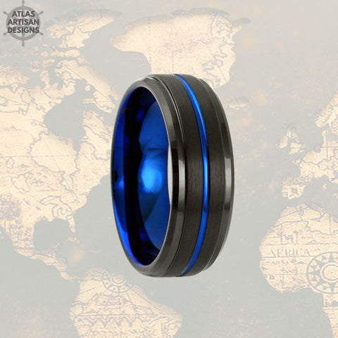 Image of 6mm Tungsten Wedding Band Mens Ring, Couples Ring Black & Blue Tungsten Ring Mens Wedding Band, Thin Blue Line Gifts, Police Officer Gifts - Atlas Artisan Designs