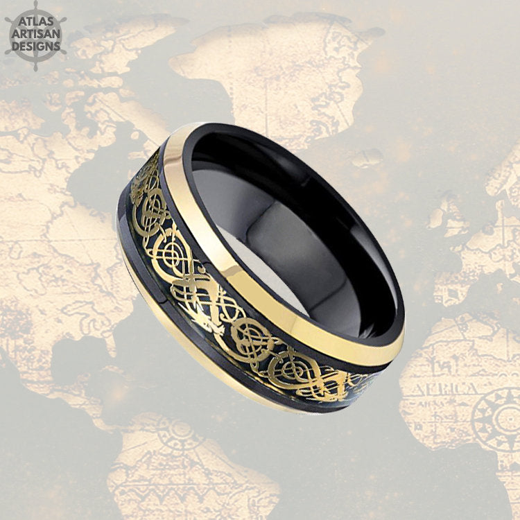 Black Viking Wedding Ring Mens Tungsten Ring, Dragon Ring Mens Wedding Band Celtic Ring Yellow Gold Ring, Tungsten Wedding Band Mens Ring - Atlas Artisan Designs