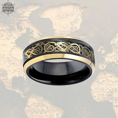 Image of Black Viking Wedding Ring Mens Tungsten Ring, Dragon Ring Mens Wedding Band Celtic Ring Yellow Gold Ring, Tungsten Wedding Band Mens Ring - Atlas Artisan Designs