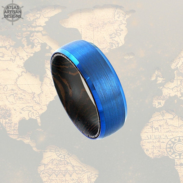 Blue Tungsten Carbide Mens Wood Ring, Mens Wedding Band Wooden Ring, Blue Tungsten Wedding Band Mens Ring,Comfort Fit Unique Wood Inlay Ring - Atlas Artisan Designs