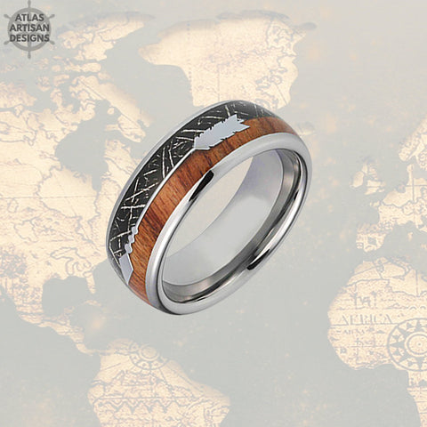 Image of Meteorite Ring with Koa Wood Inlay, Wood Wedding Band, 5th Anniversary Ring Unique Mens Ring, Koa Wood Ring, Tungsten Wedding Band Mens Ring - Atlas Artisan Designs