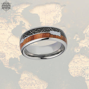 Meteorite Ring with Koa Wood Inlay, Wood Wedding Band, 5th Anniversary Ring Unique Mens Ring, Koa Wood Ring, Tungsten Wedding Band Mens Ring