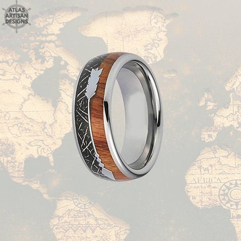 Image of Meteorite Ring with Koa Wood Inlay, Wood Wedding Band, 5th Anniversary Ring Unique Mens Ring, Koa Wood Ring, Tungsten Wedding Band Mens Ring