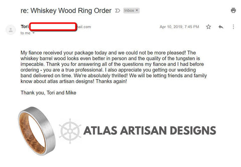 Image of Black Whiskey Barrel Ring Unique Wooden Ring - Whiskey Wood Ring Mens Wedding Band Tungsten Ring - Atlas Artisan Designs