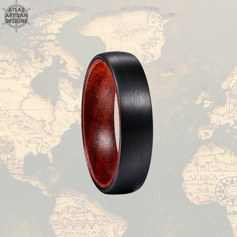 6mm Red Wood Ring Tungsten Wedding Band Mens Ring, Black Tungsten Ring Beveled Edges, Wood Wedding Band, Rustic Wooden Ring, Promise Ring - Atlas Artisan Designs