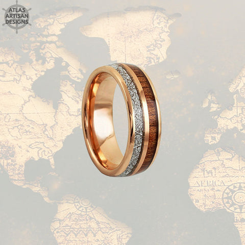 Image of Meteorite Rose Gold Ring Mens Wedding Band Koa Wood Ring, Wood Wedding Band Mens Ring, Rose Gold Meteorite Wedding Rings Unique Wood Rings -