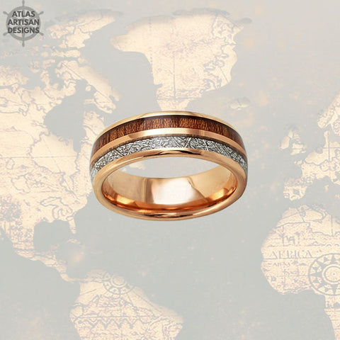 Meteorite Rose Gold Ring Mens Wedding Band Koa Wood Ring, Wood Wedding Band Mens Ring, Rose Gold Meteorite Wedding Rings Unique Wood Rings -