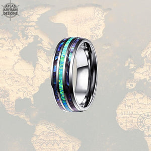 Opal & Abalone Ring Mens Wedding Band, Green Opal Ring Tungsten Wedding Band Mens Ring, Abalone Shell Ring, Opal Wedding Bands Womens Ring -