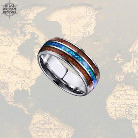 Blue Opal Ring Mens Wedding Band, 8mm Koa Wood Ring Tungsten Wedding Band Mens Ring, Unique Mens Wood Ring, Wooden Ring, Nature Wedding Ring