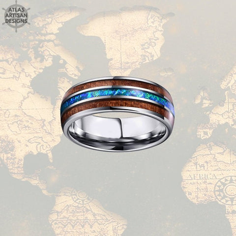 Image of Blue Opal Ring Mens Wedding Band, 8mm Koa Wood Ring Tungsten Wedding Band Mens Ring, Unique Mens Wood Ring, Wooden Ring, Nature Wedding Ring