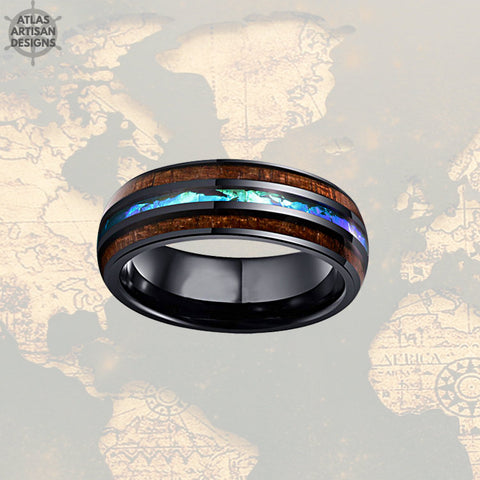 Unique Mens Wedding Band Opal Inlay Ring, Koa Wood Ring Tungsten Wedding Band Mens Ring, Black Mens Wood Ring, Wooden Ring, Blue Opal Ring -