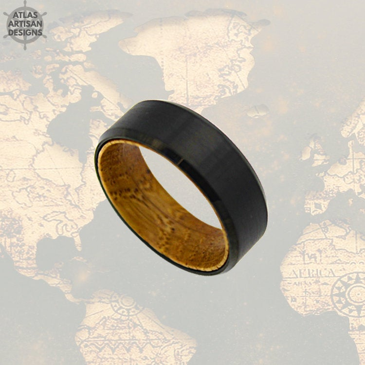 Black Whiskey Barrel Ring w/ Bevel Edges, Mens Wedding Band Wood Ring, Tungsten Whiskey Ring for Men, Bourbon Barrel Ring, Unique Mens Ring - Atlas Artisan Designs