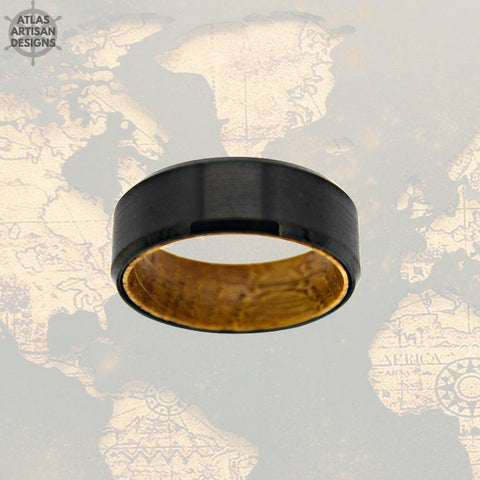 Image of Black Whiskey Barrel Ring w/ Bevel Edges, Mens Wedding Band Wood Ring, Tungsten Whiskey Ring for Men, Bourbon Barrel Ring, Unique Mens Ring - Atlas Artisan Designs