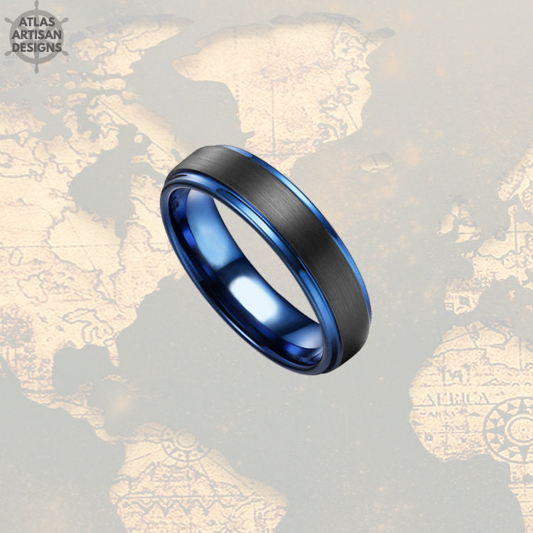Unique Mens Wedding Band 6mm Tungsten Wedding Band Mens Ring, Blue Tungsten Ring, Thin Blue Line Gifts Police Officer Gift Thin Wedding Ring - Atlas Artisan Designs