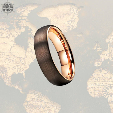 Mocha Brown & Rose Gold Ring Mens Wedding Band, Brown Tungsten Wedding Band Mens Ring, Rose Gold Wedding Bands Womens Ring, Couples Ring - Atlas Artisan Designs