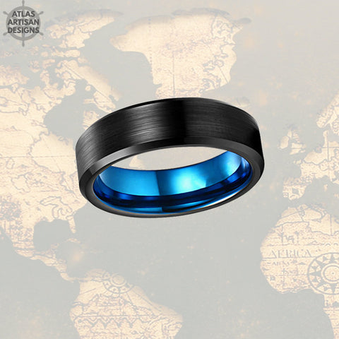 Image of 6mm Blue Tungsten Wedding Bands Womens Ring, Thin Blue Line Gift, Unique Mens Wedding Band, Mens Promise Ring, Blue Ring Couples Ring Set - Atlas Artisan Designs