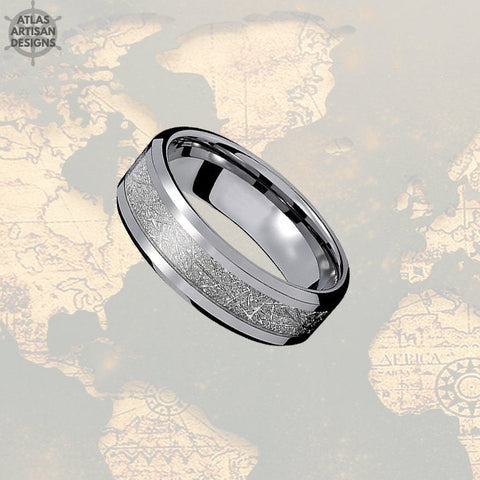 8mm Unique Meteorite Ring Mens Wedding Band with Bevel Edges, Meteorite Jewelry, Meteorite Wedding Bands Womens & Mens Ring, Meteorite Rings