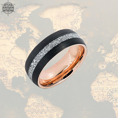 Image of Black & Rose Gold Ring Mens Wedding Band Meteorite Ring Tungsten Wedding Band Mens Ring, Rose Gold Meteorite Wedding Rings Unique Mens Rings - Atlas Artisan Designs
