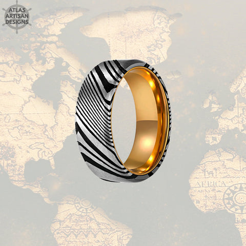 Image of Damascus Steel Ring Mens Wedding Band, Damascus Ring with Gold, Cool Mens Rings, Gold Damascus Ring, Unique Mens Ring, Gold Ring w/ Damascus - Atlas Artisan Designs