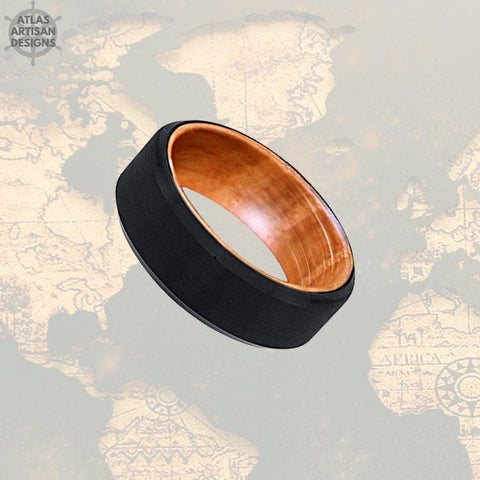 Image of Whiskey Barrel Ring Mens Wedding Band Wood Ring, Tungsten Wedding Band Mens Ring, Bourbon Barrel Ring, 8mm Wood Wedding Band Tungsten Ring - Atlas Artisan Designs