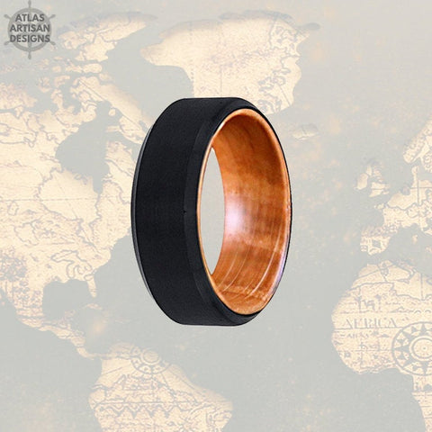 Whiskey Barrel Ring Mens Wedding Band Wood Ring, Tungsten Wedding Band Mens Ring, Bourbon Barrel Ring, 8mm Wood Wedding Band Tungsten Ring - Atlas Artisan Designs