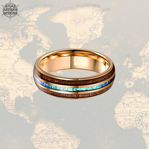 18K Rose Gold Blue Opal Ring Mens Wedding Band, 8mm Koa Wood Ring Tungsten Wedding Band Mens Ring, Wood Wedding Bands Women Rose Gold Ring