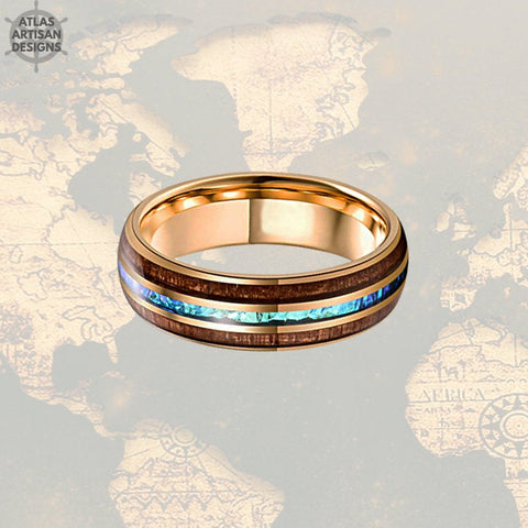 18K Rose Gold Blue Opal Ring Mens Wedding Band, 8mm Koa Wood Ring Tungsten Wedding Band Mens Ring, Wood Wedding Bands Women Rose Gold Ring -