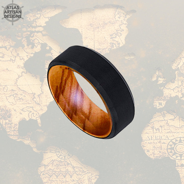 Olive Wood Ring Mens Wedding Band with Beveled Edges, Tungsten Wedding Band Mens Ring, Wood Inlay Ring, Wood Wedding Band, Unique Mens Ring - Atlas Artisan Designs
