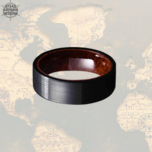 Rose Wood Ring Mens Wedding Band, 8mm Pipe Cut Black Tungsten Wedding Band Mens Ring, Unique Wood Inlay Ring, Wood Wedding Band, Wooden Ring