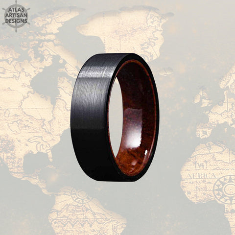 Image of Rose Wood Ring Mens Wedding Band, 8mm Pipe Cut Black Tungsten Wedding Band Mens Ring, Unique Wood Inlay Ring, Wood Wedding Band, Wooden Ring - Atlas Artisan Designs