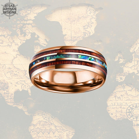 18K Rose Gold Opal Ring Mens Wedding Band, 8mm Koa Wood Ring Tungsten Wedding Band Mens Ring, Wood Wedding Bands Women Rose Gold Ring - Atlas Artisan Designs