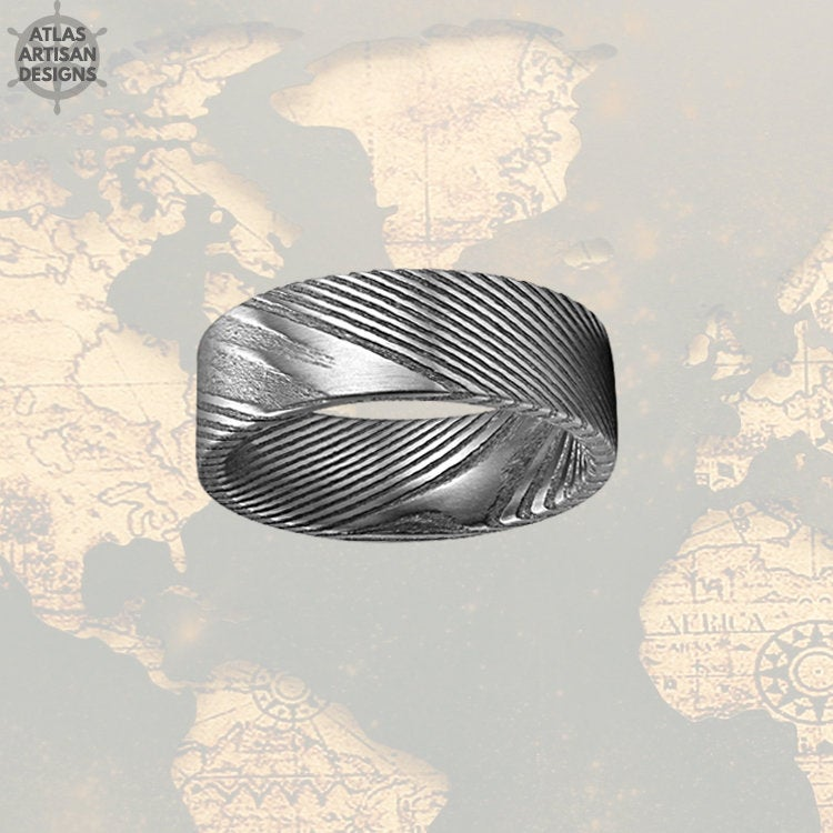 Wood Grain Damascus Steel Ring Mens Wedding Band, 8mm Pipe Cut Silver Damascus Ring, Unique Mens Rings, Damascus Wedding Band Mens Ring, - Atlas Artisan Designs