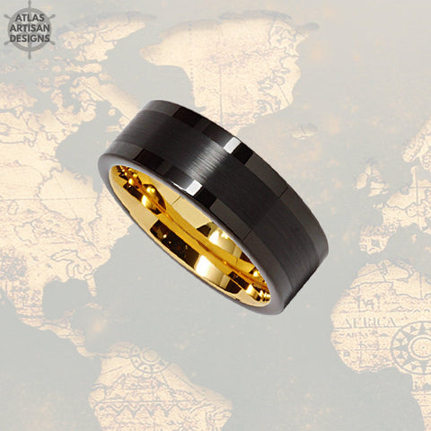 Image of 14K Gold Wedding Band Mens Tungsten Ring, 8mm Black Mens Wedding Band Celtic Ring Yellow Gold Ring, Tungsten Wedding Ring Unique Mens Ring - Atlas Artisan Designs