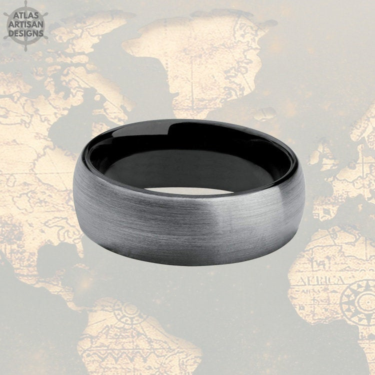 Gunmetal Gray Tungsten Ring Mens Wedding Band, Mens Promise Ring, 8mm Tungsten Wedding Band Mens Ring, Black Ring for Men Couples Ring Set - Atlas Artisan Designs