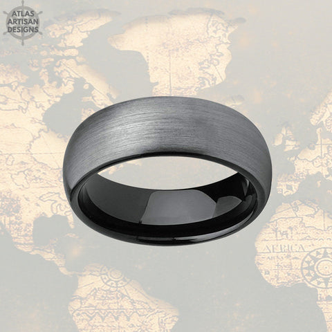Image of Gunmetal Gray Tungsten Ring Mens Wedding Band, Mens Promise Ring, 8mm Tungsten Wedding Band Mens Ring, Black Ring for Men Couples Ring Set - Atlas Artisan Designs