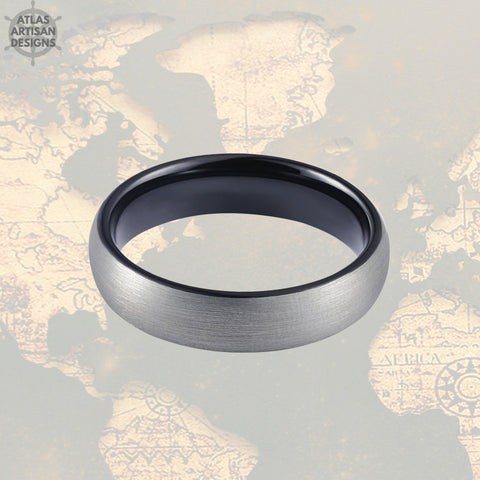 Image of 6mm Black Tungsten Wedding Band Mens Ring, Gunmetal Gray Tungsten Ring Mens Wedding Band, Mens Promise Ring, Black Ring Couples Ring Set - Atlas Artisan Designs