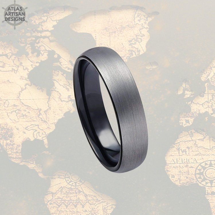 6mm Black Tungsten Wedding Band Mens Ring, Gunmetal Gray Tungsten Ring Mens Wedding Band, Mens Promise Ring, Black Ring Couples Ring Set - Atlas Artisan Designs