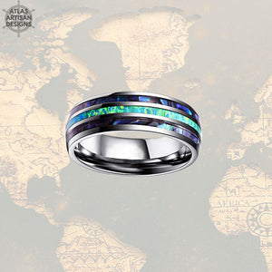 Green Opal Wedding Band Mens Ring, Blue Opal Ring Mens Wedding Band, Tungsten Wedding Bands Womens Abalone Shell Ring, Unique Abalone Ring