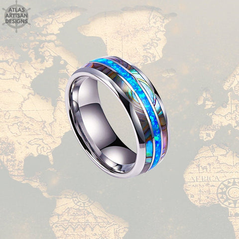 Image of Crushed Blue Opal Wedding Band Mens Ring, Unique Abalone Ring Mens Wedding Band Opal Ring, Tungsten Wedding Bands Womens Abalone Shell Ring -