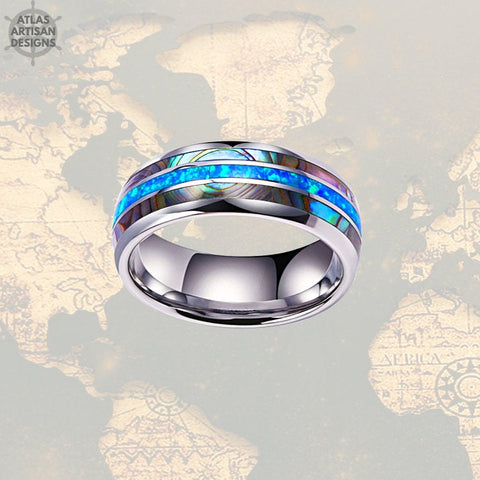 Crushed Blue Opal Wedding Band Mens Ring, Unique Abalone Ring Mens Wedding Band Opal Ring, Tungsten Wedding Bands Womens Abalone Shell Ring -