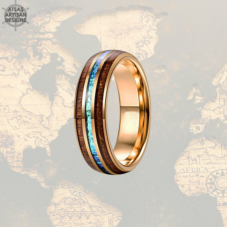 18K Rose Gold Blue Opal Ring Mens Wedding Band, 8mm Koa Wood Ring Tungsten Wedding Band Mens Ring, Wood Wedding Bands Women Rose Gold Ring - Atlas Artisan Designs