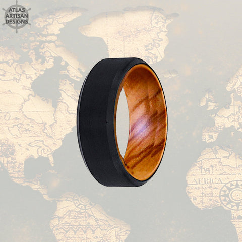 Image of Olive Wood Ring Mens Wedding Band with Beveled Edges, Tungsten Wedding Band Mens Ring, Wood Inlay Ring, Wood Wedding Band, Unique Mens Ring - Atlas Artisan Designs