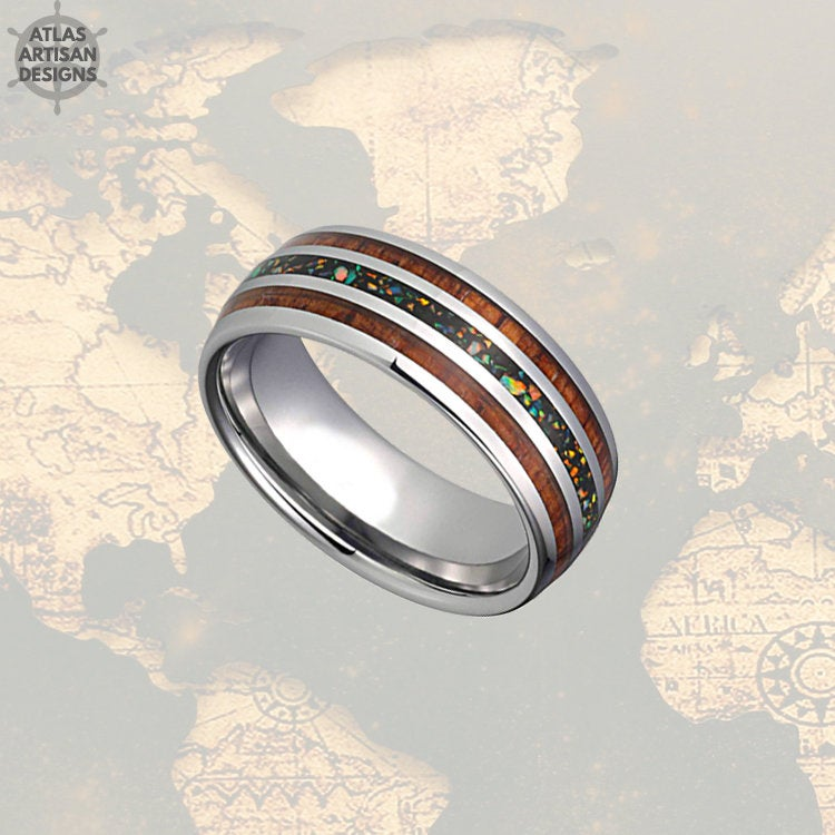 8mm Crushed Fire Opal Ring Mens Wedding Band, Koa Wood Ring Tungsten Wedding Band Mens Ring, Wood Wedding Bands Womens Ring, Blue Opal Ring - Atlas Artisan Designs