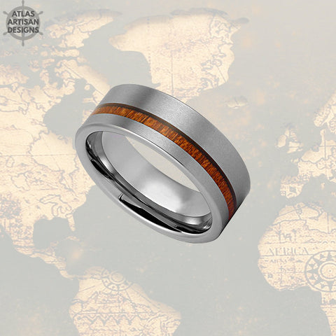 Image of Koa Wood Ring Mens Wedding Band, Silver Tungsten Wedding Band Mens Ring, Wood Wedding Bands Women Couples Ring, Unique Mens Ring Wooden Ring - Atlas Artisan Designs