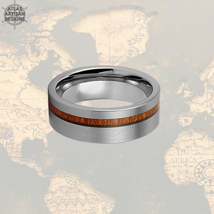 Koa Wood Ring Mens Wedding Band, Silver Tungsten Wedding Band Mens Ring, Wood Wedding Bands Women Couples Ring, Unique Mens Ring Wooden Ring - Atlas Artisan Designs