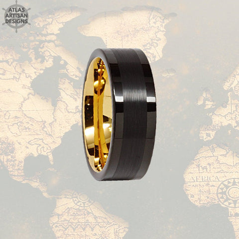 14K Gold Wedding Band Mens Tungsten Ring, 8mm Black Mens Wedding Band Celtic Ring Yellow Gold Ring, Tungsten Wedding Ring Unique Mens Ring - Atlas Artisan Designs