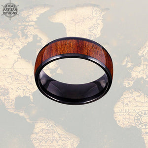 Wood Wedding Band Koa Wood Ring Mens Wedding Band Black Titanium Wedding Band Mens Ring, Wood Inlay Ring, Wood Anniversary Ring, Wooden Ring